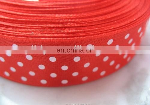 Shiny color customized polyster printed satin ribbon