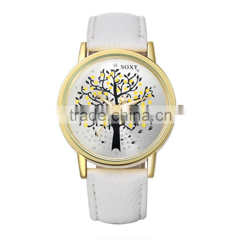 Import china goods leather strap watches fashion watch