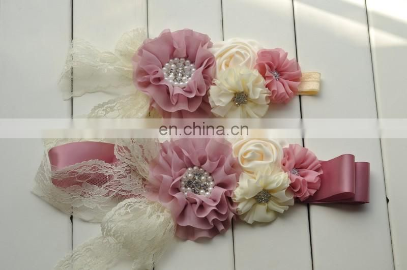 Spring Pink Floral Sash Belt Matching Headband Sets With Lace Bows Rhinestone Flower Sash Belt For Maternity