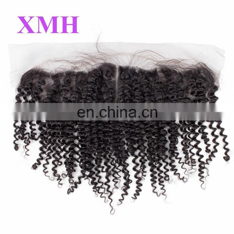 Brazilian Kinky Curly Lace Frontal Closure Piece Human Hair 13x4 Lace Frontals With Baby Hair