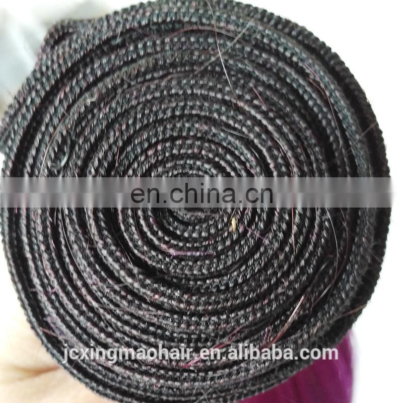New Arrival Stock 12inch Two Tone Black Purple Brazilian Remy Human Hair Hair Weave