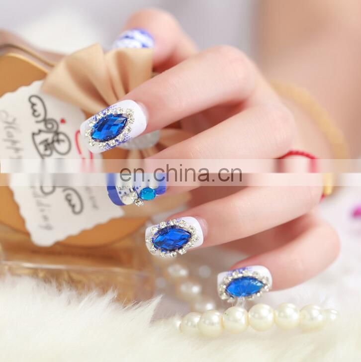 pre glue fake nail 3D glitter design false nail tips artificial nails for wholesale