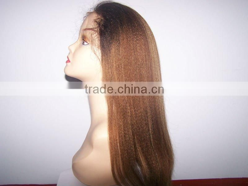 20 inches color as the picture Kinky straight 100% Indian remy human hair lace wigs accept customer order