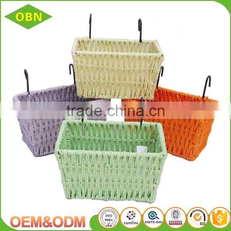 Cheap colorful paper twine woven bike basket for kids