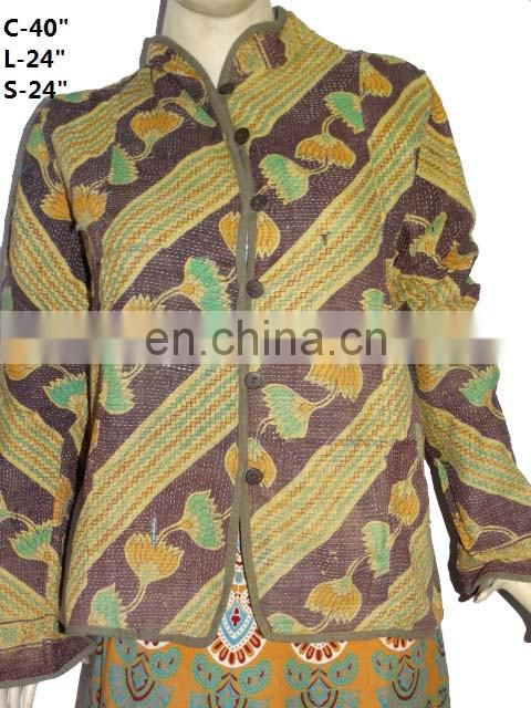 S Vintage kantha Short Jacket Reversible Gudri Rally Coat Vest VH01