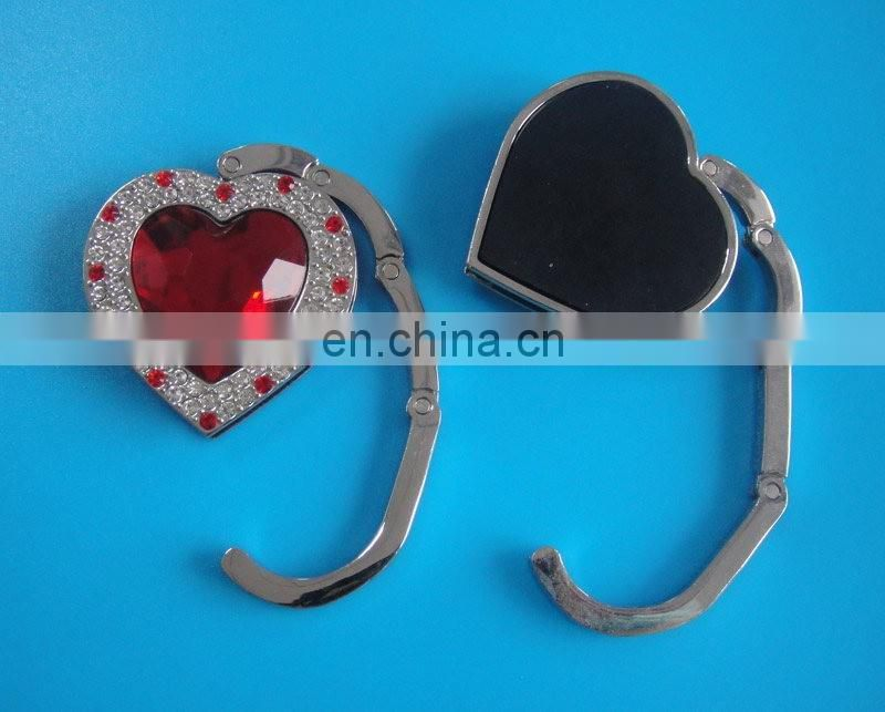 2017 heart shape pink folding portable purse hook with stone