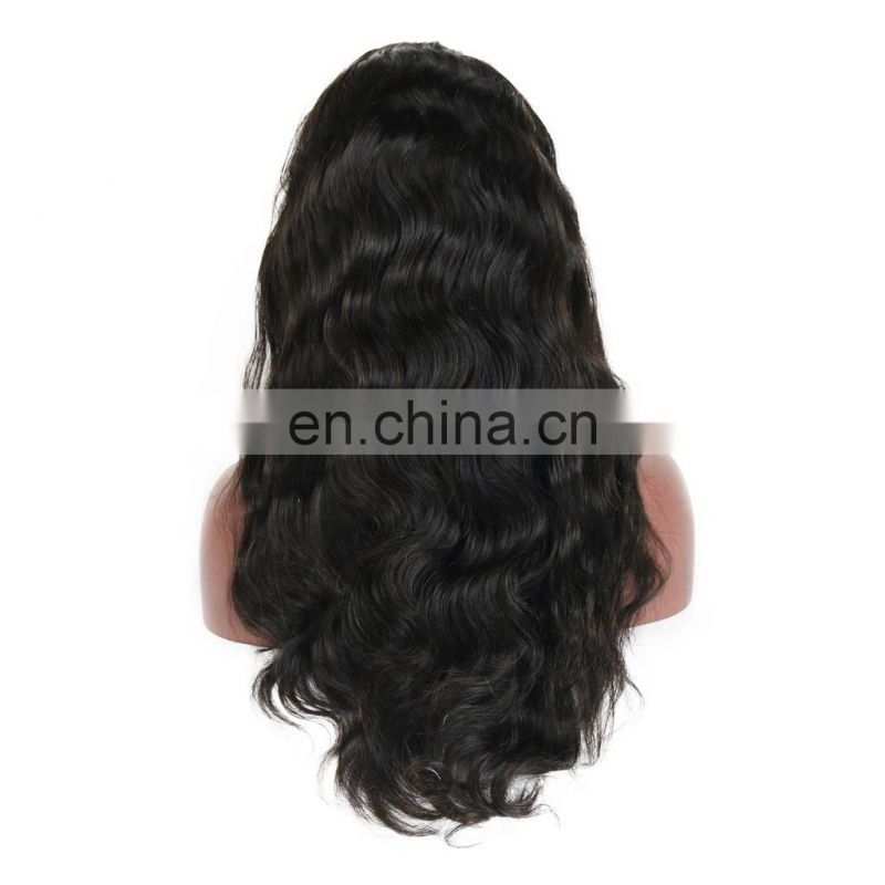 Factry price Brazilian human virgin 9A grade hair full lace wig in body wave style raw unprocessed hair