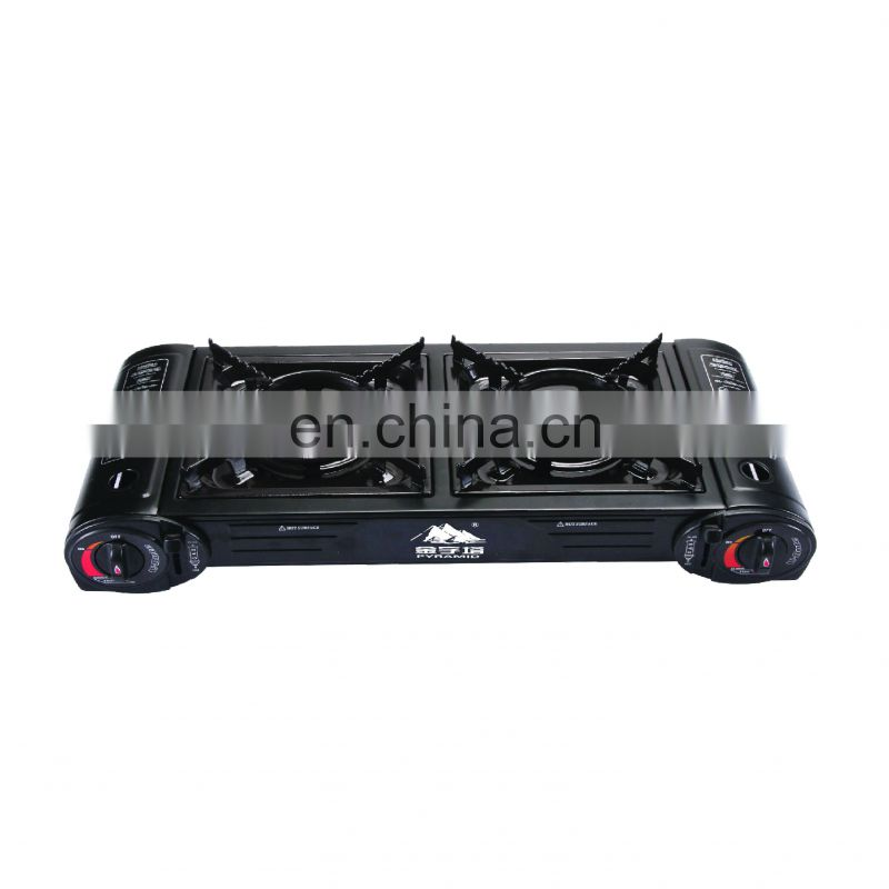 Good Quality Gold Stainless Steel Double Burner Gas Cooker made in china
