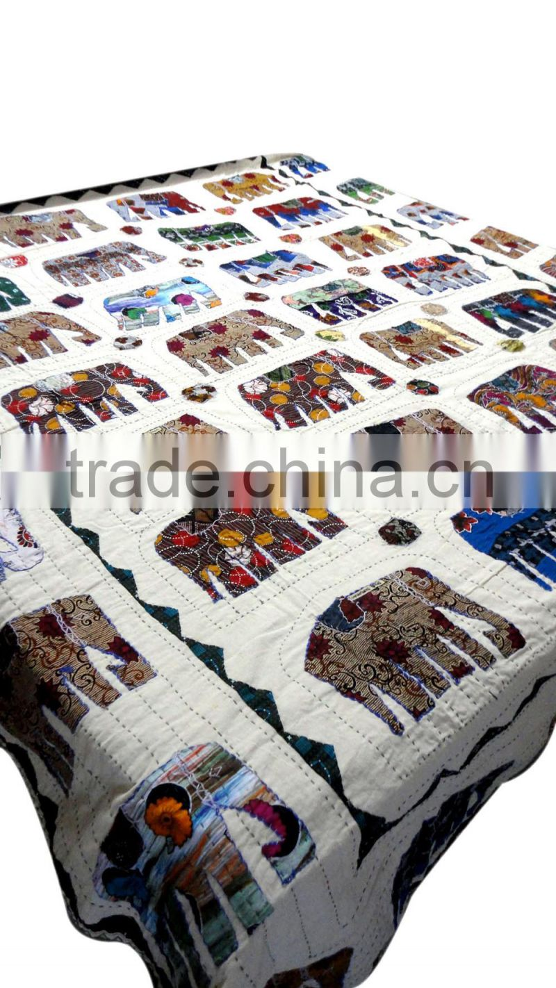 RTHBC-9 Traditional kantha stitching Elephant design Designs Beautiful patches Applique Cotton Cutwork queen size bed covers