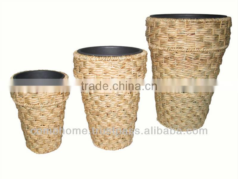 Hot new product for 2015: Square rattan plastic planter for home decoration and home furniture (CH2174A)
