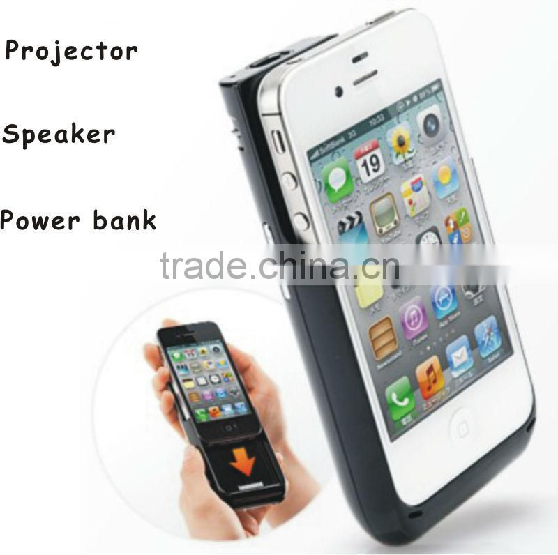 3 in 1 multifunctional(power bank, speaker,DLP projector with LED) pocket projector for iphone---12 Ans Lumens---640*360 Pixels
