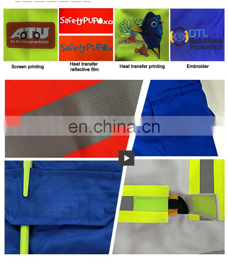Blue safety reflective fire retardant work coveralls modacrylic