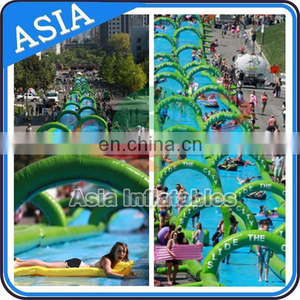 400m 3 Lanes Slide The Street / Inflatable Giant Water Slide City Wet Games
