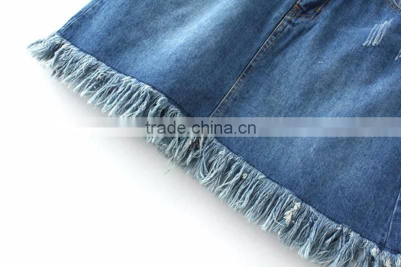 Blue wash technics attractive design women ripped tassel fringed bottom girls short denim jeans skirt