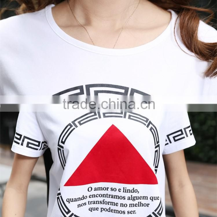 2016 Summer Fashion Women Contrast Color Patchwork T-Shirt Ladies Korean Round Neck Geometry Pattern T Shirt Wholesale China