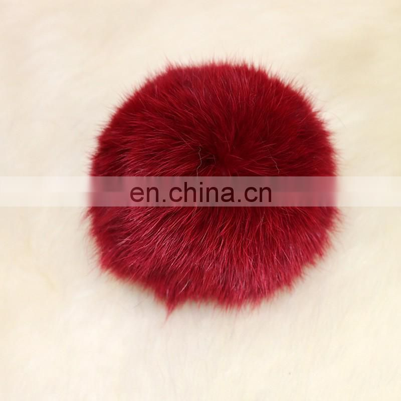 Real rabbit fur pom pom ball fur accessory for fashion decoration