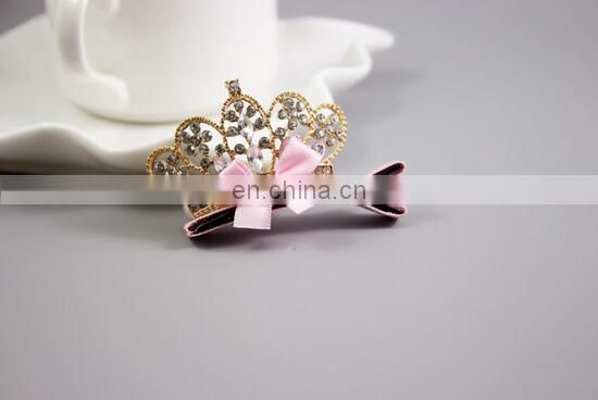 Sparkly Rhinestone Hair Clips Crown Hair Clip With Pink Bows For Baby Girl Princess Party Favors