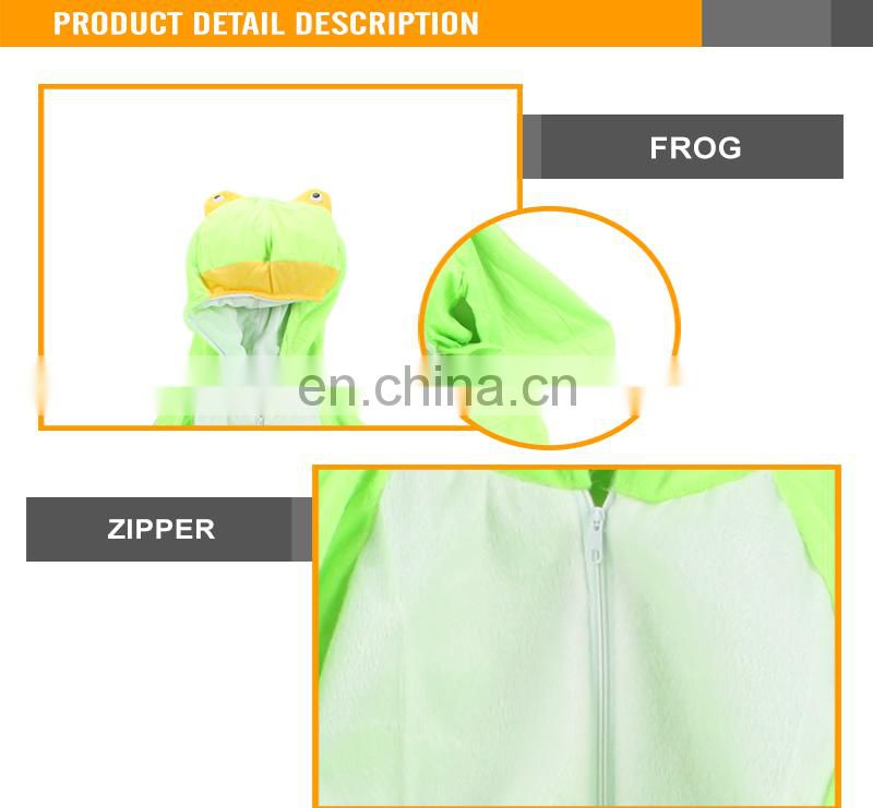 Flannel green frog hooded bodies romper funny costume
