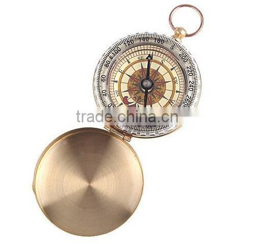 Classic pocket watch style bronzing antique camping compass with night light