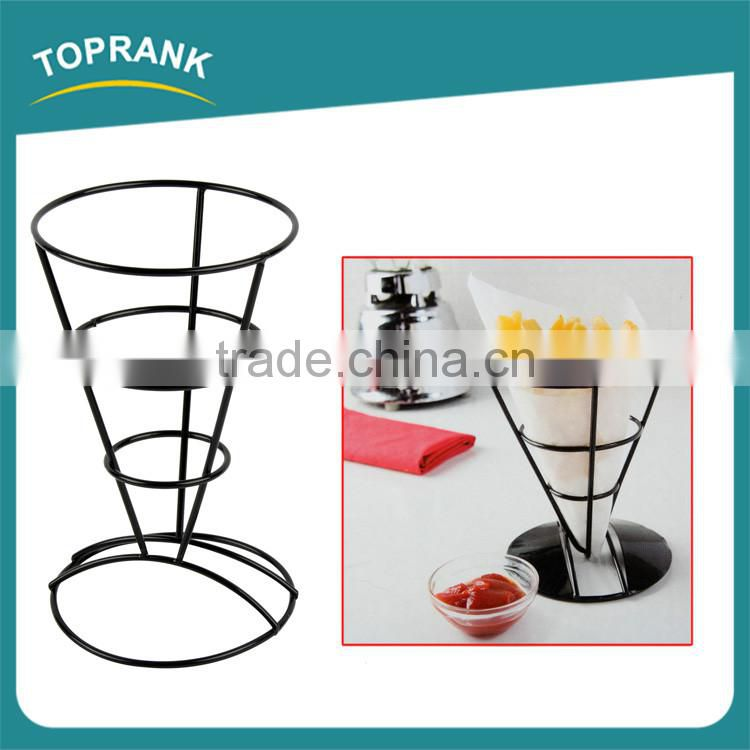 Metal food cone holder wire french fry holder with condiment stand