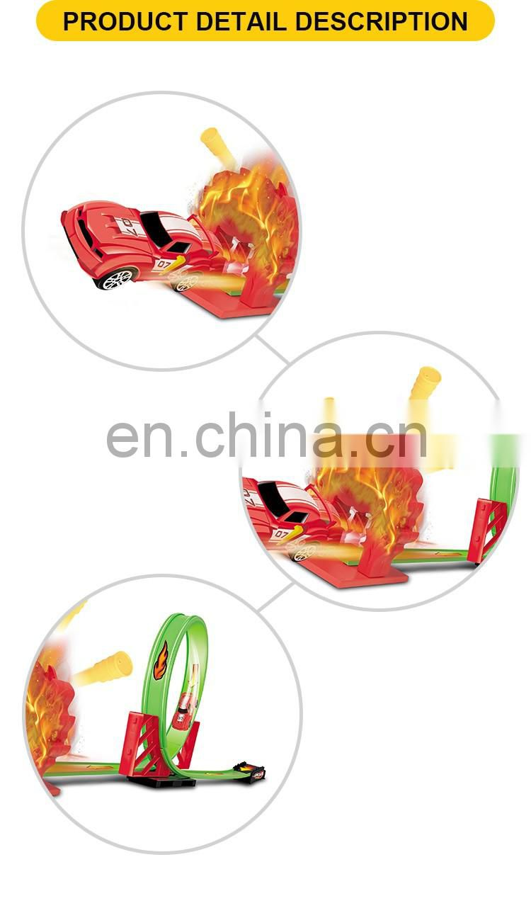 New design plastic rail way toy the pull back racing car(22pcs)