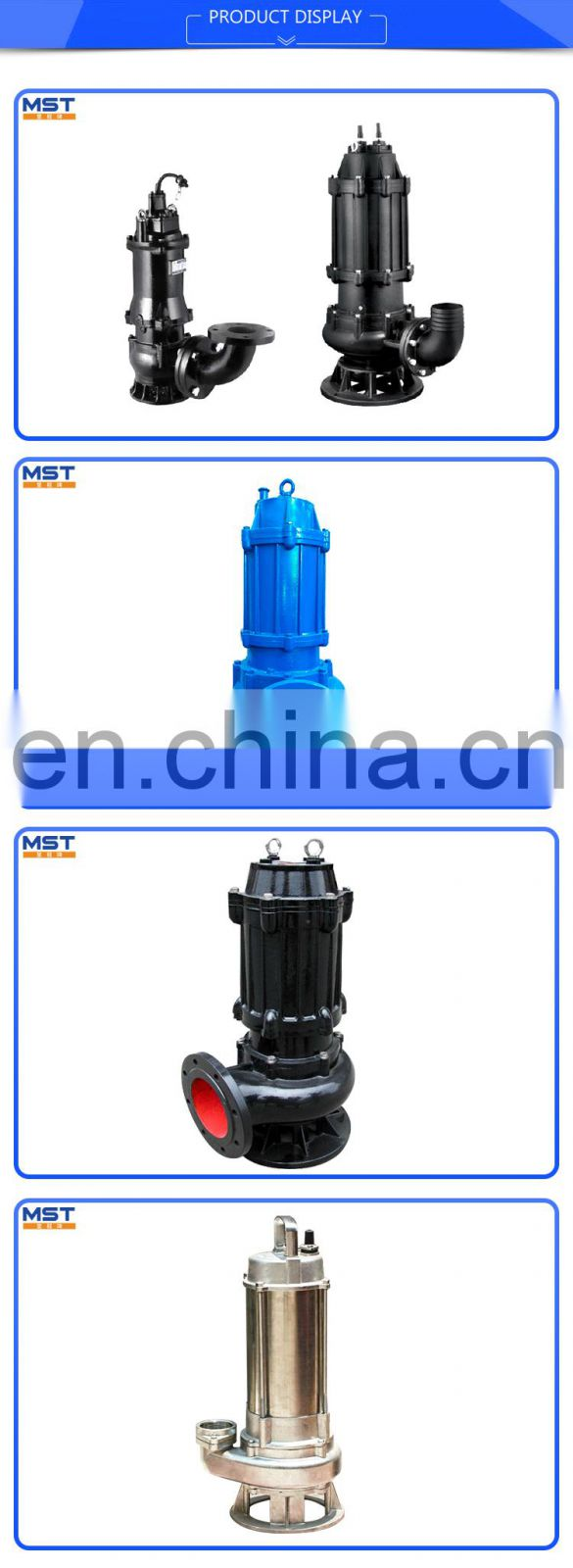 Raw sewage cutting high flow submersible pump