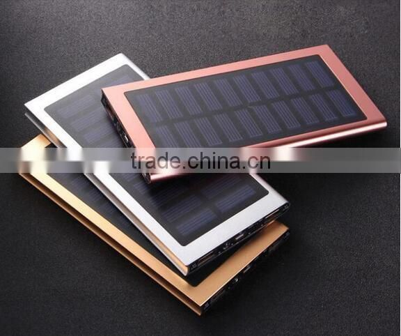 20000 mah extrathin solar Charger Aluminum External Battery Backup Ultra Thin Solar Power bank