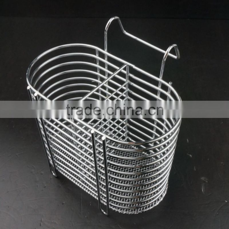 43007 Steel Wire Sink Basket Cutlery Holder Cooking Utensils Storage Kitchen Rack