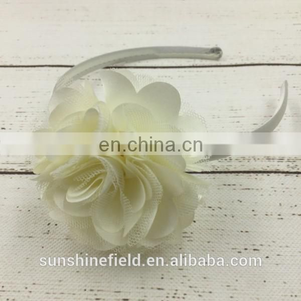 satin flower plastic headband for kids