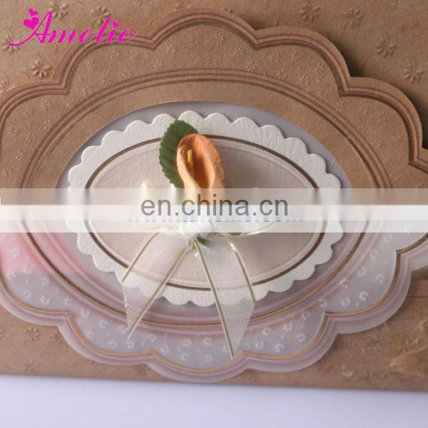 AT010 Ribbon Brown Laser Cut Wedding Card