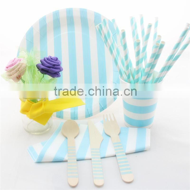 Baby Blue StripedTableware Set Wooden fork Spoon Knife, Disposable Party Paper Plates, Napkins, Drinking Cups and Straws