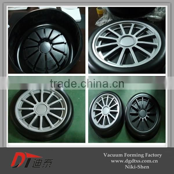 DIY plastic model of children car wheel by vacuum forming