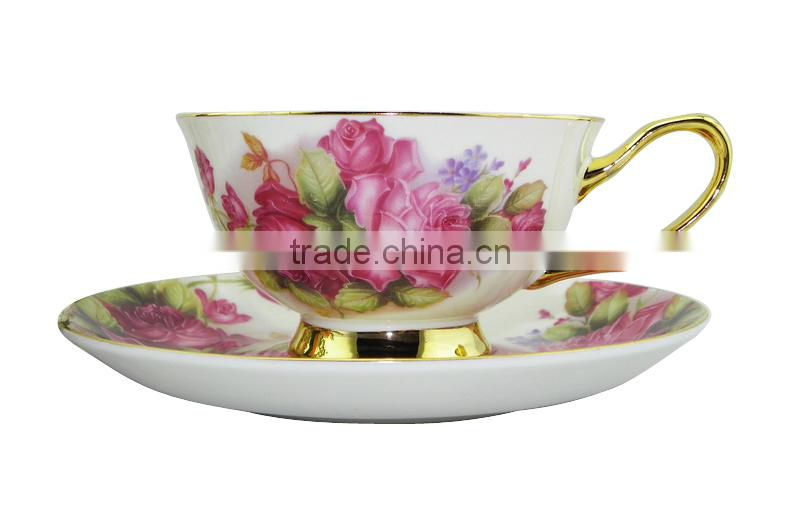 200ml Bone China European Style Flower Pattern Coffee Cup with Saucer Set for Valentines Gift