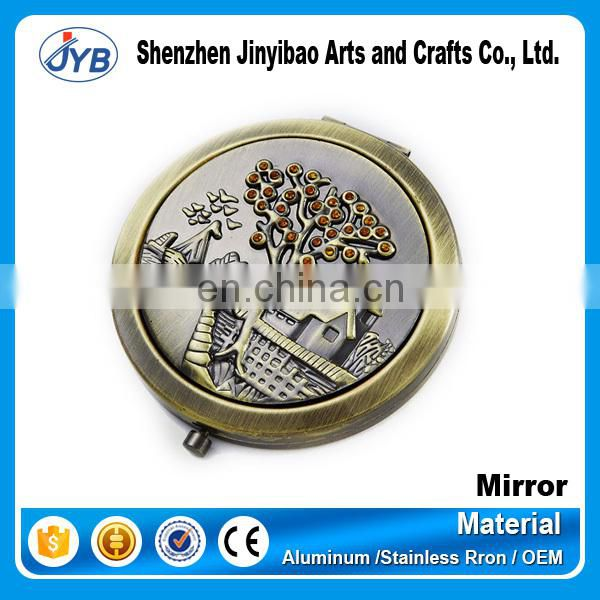 Wholesale Promotional Round Shape Stock Pure Silver Plated Makeup Mirror