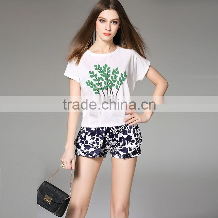 2016 Hot Summer New Fashion Women 3D Printing Design T Shirt Casual Slim Cotton Short Sleeve Pleated Print T-Shirt