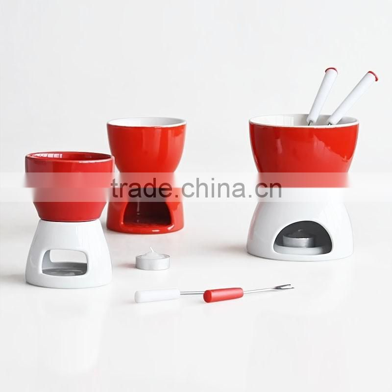 3pcs stoneware solid color fondue set with forks