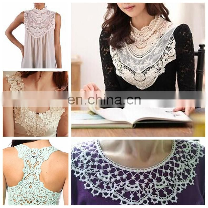 Bailange 2015 latest wholesale Guangzhou cotton lace collar lace neck lace neck designs for ladies dress