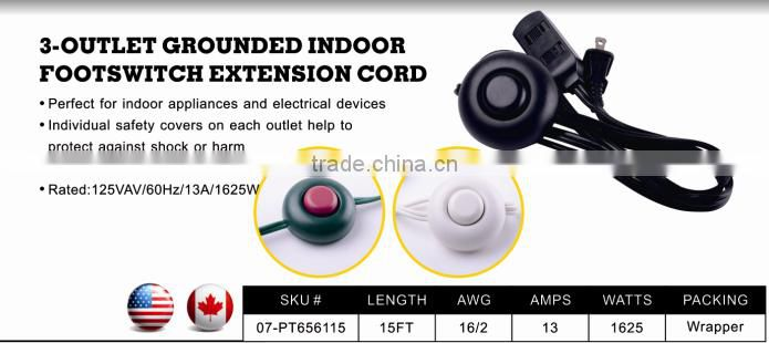 S80043 3-outlet SPT-2 indoor footswitch extension cord