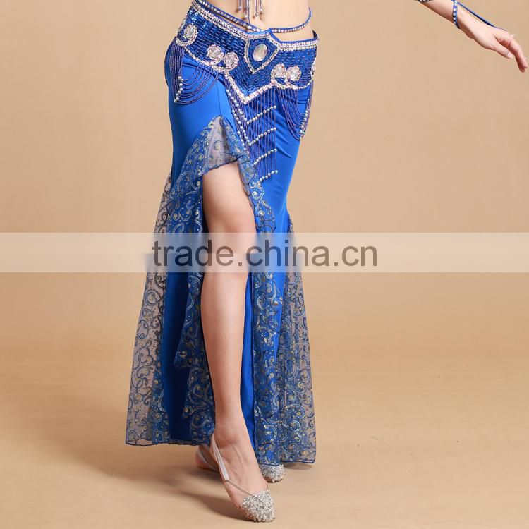 STELISY Latest Oriental beautiful side slit women sexy long belly dancing skirt