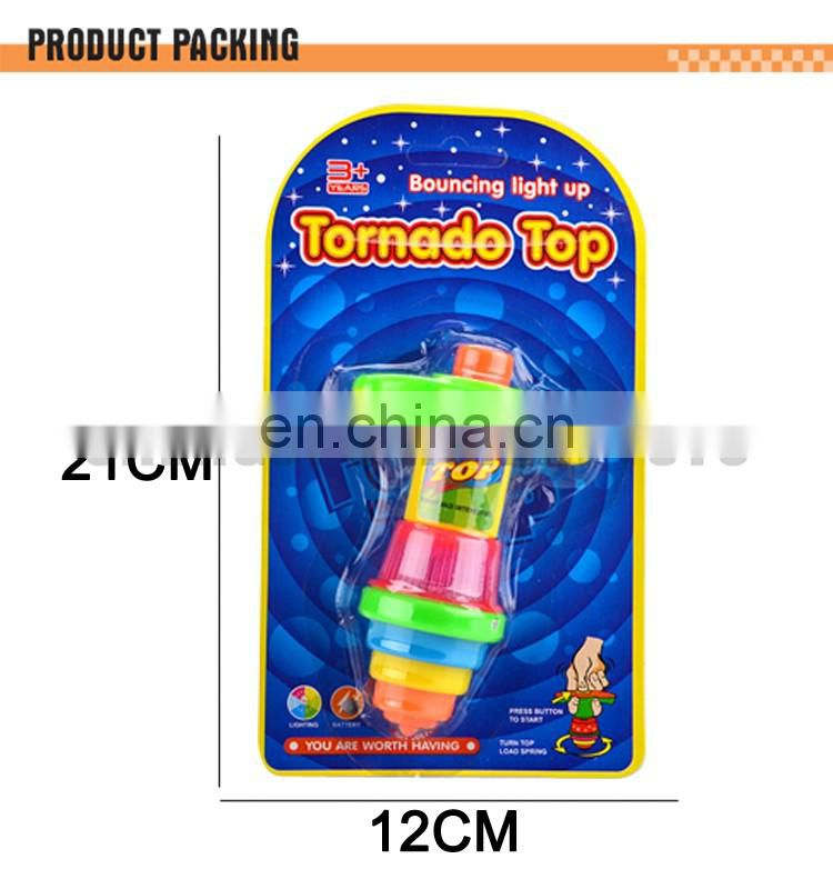 Plastic peg-top wind up spinning top game flashing top spin toy for kids