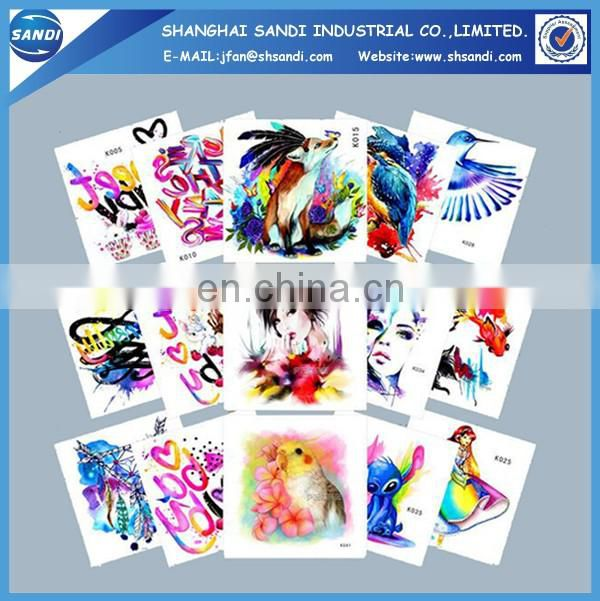 Custom colorful logo body permanent tattoo sticker