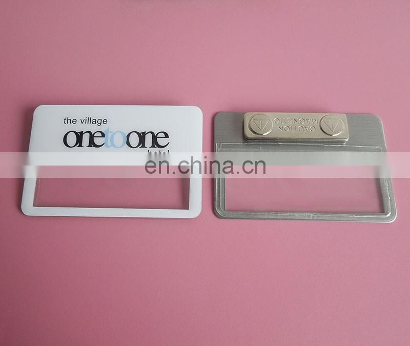 high quality rectangle shaped black plate custom engraved logo soft enamel magnetic name badge
