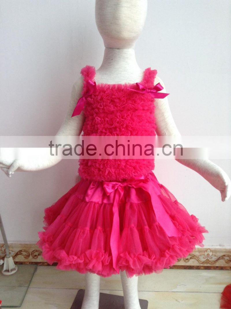 DYJ-122 beautiful baby tutu skirts matching bow ties princess tutu frocks designs Kids wedding dress girls rose red dinner dress