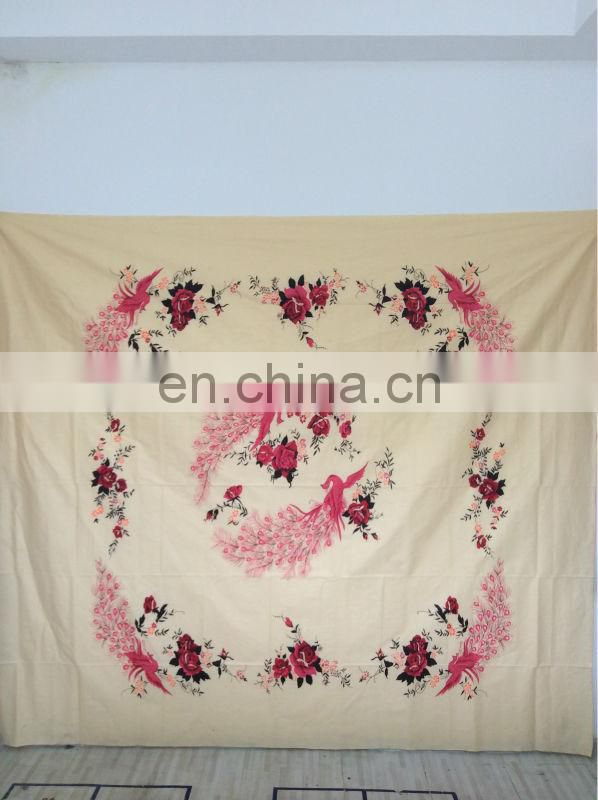cotton printed bed sheet peacock designs with many color ways