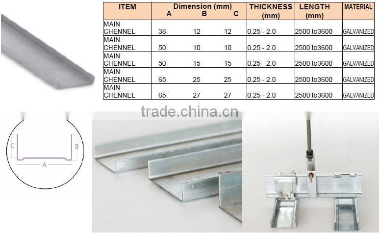 Mill Finish Galvanized Steel Metal Stud And Track For Dubai, UAE