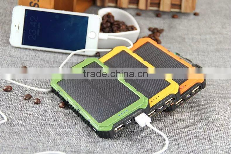 long lasting 10000mah solar power bank for iphone 6 plus