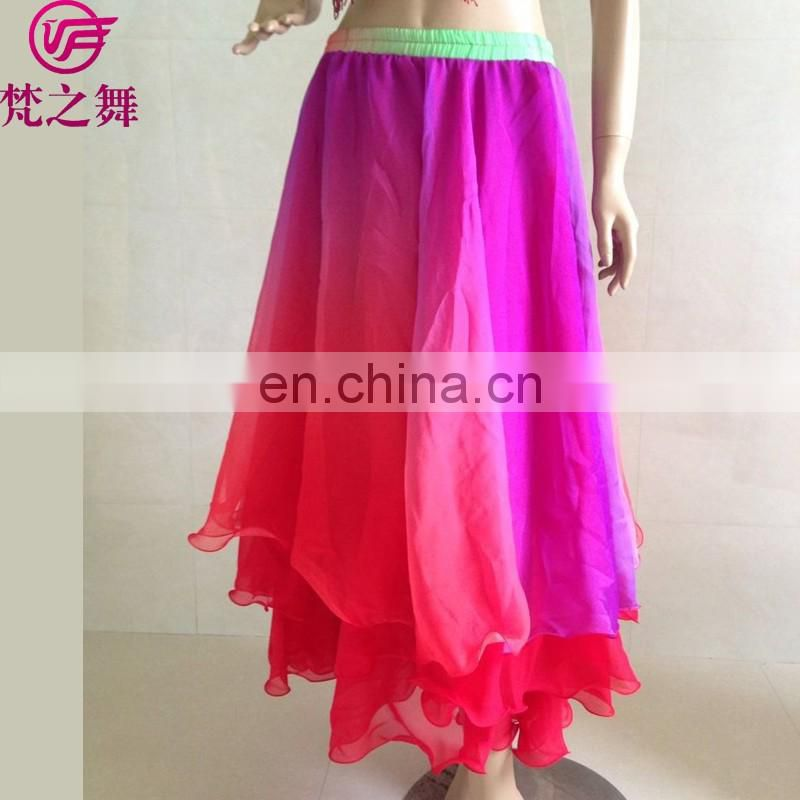Q-6030 Imitated silk and chiffon three layers gradient color belly dance arabic sexy dance long skirt