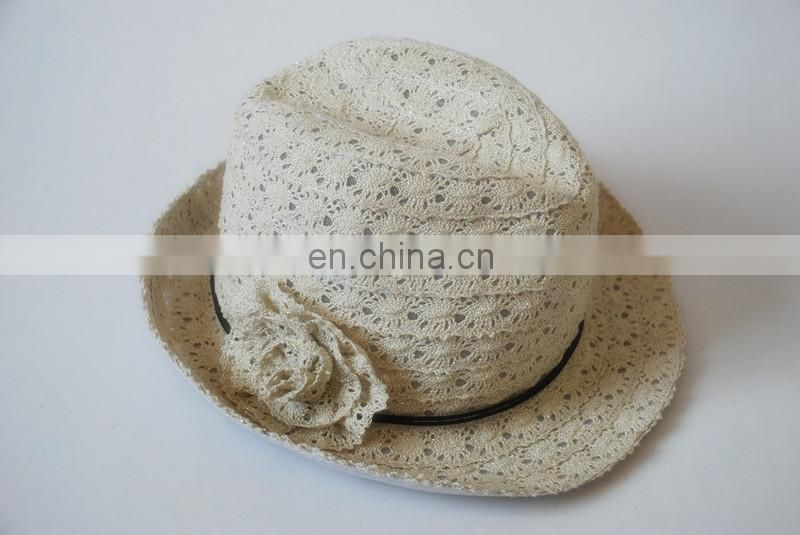 Lady Lace Sewing With Lace Flower Decoration Fedora Hat