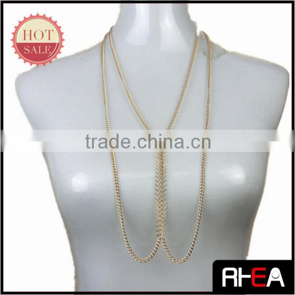 Wholesale costume jewelry chain plated gold body chain, charm lady Fishbone body chain RD11331