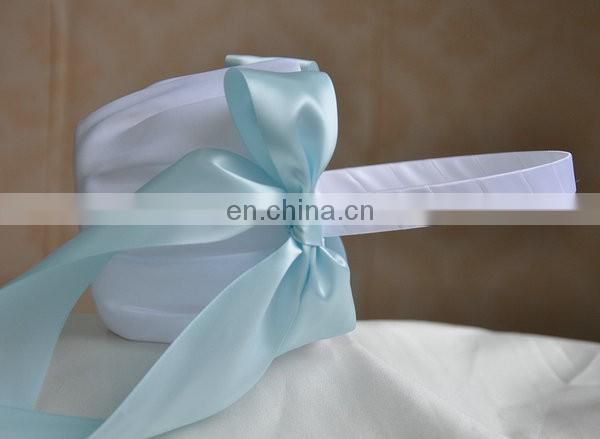 5cm Wide Mixed Fresh Color Ribbon Decorated Wedding Flower Baskets With Big Bow for Party
